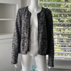 SUZY SHIER Black/White Open Blazer Cardigan